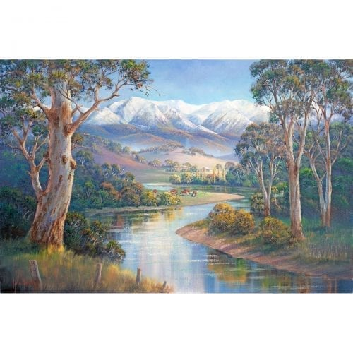 Autumn Snow Murray Valley Painting John Bradley