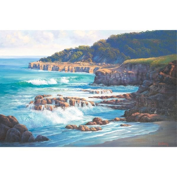 Caves Beach Afternoon painting by John Bradley