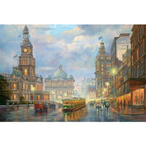 Evening Showers Tram Painting John Bradley