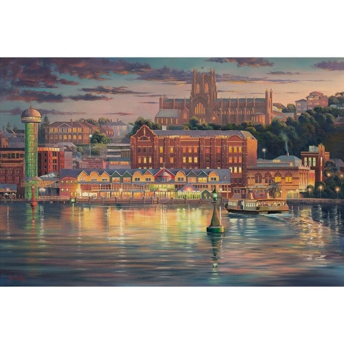 Harbour Lights Newcastle Harbour Painting by John Bradley