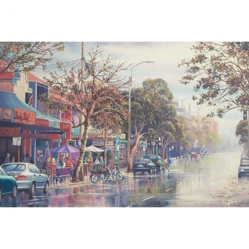 Long Lunch Darby Street Newcastle Painting by John Bradley