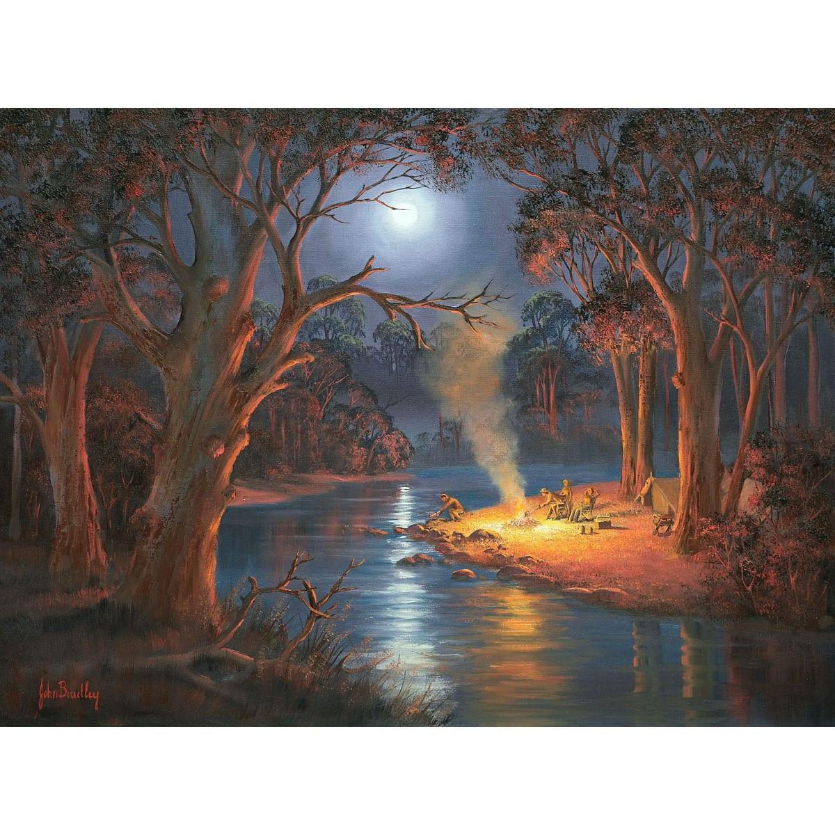 Magical Moonrise Riverbank Painting John Bradley