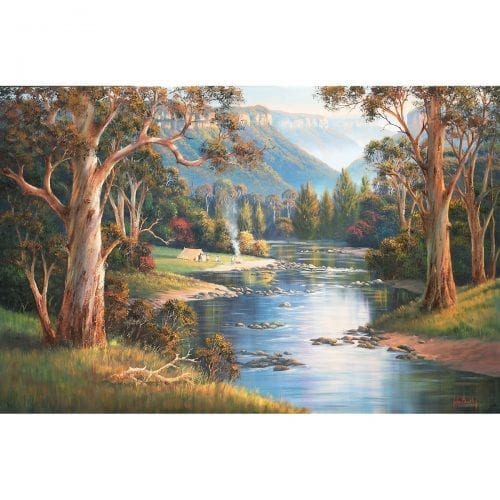 Megalong Valley Campers painting by John Bradley