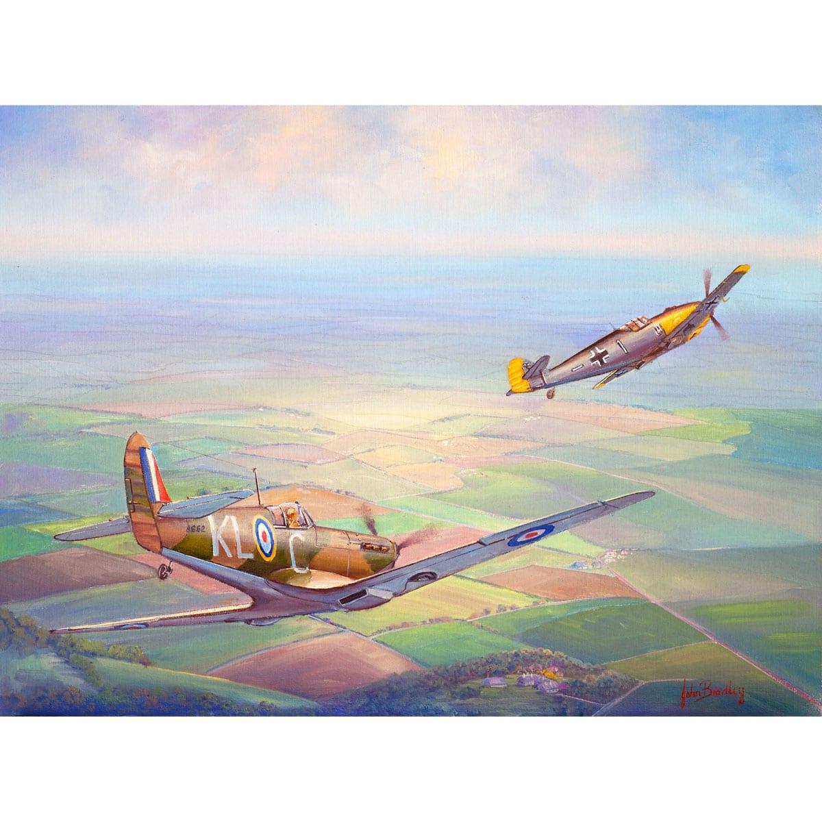 Nowhere to Hide Fighter Plane Painting John Bradley