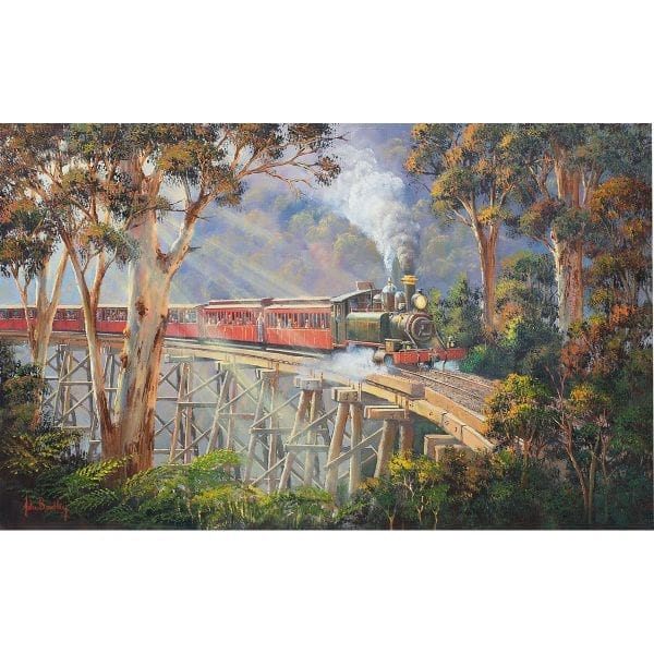 Puffing Billy Train Painting by John Bradley