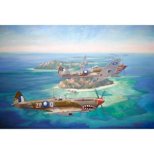 Shark Attack War Plane Painting John Bradley