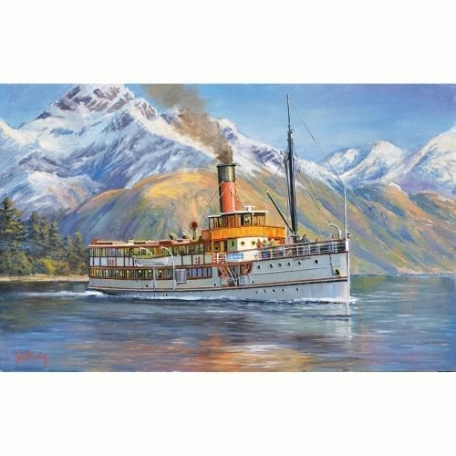 Earnslaw on Lake Wakitipu Queenstown NZ Painting by John Bradley