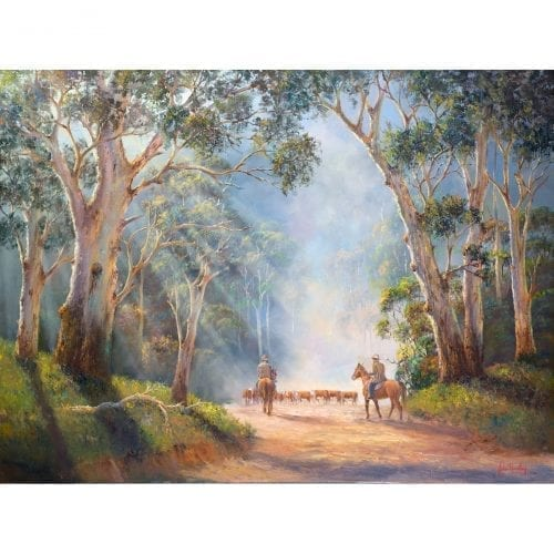 Misty Morning Muster Painting by John Bradley