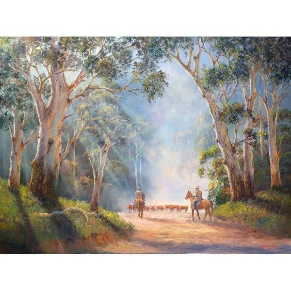 Misty Morning Muster Painting by John Bradley