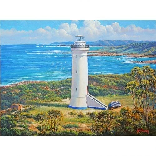 White Lighthouse seascape painting John Bradley