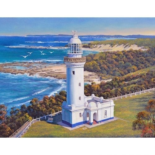 Norah head Lighthouse with Seagulls John Bradley Art John Bradley Art