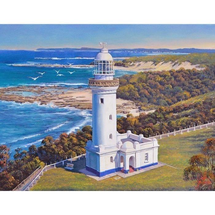 Norah head Lighthouse with Seagulls John Bradley Art John Bradley Art