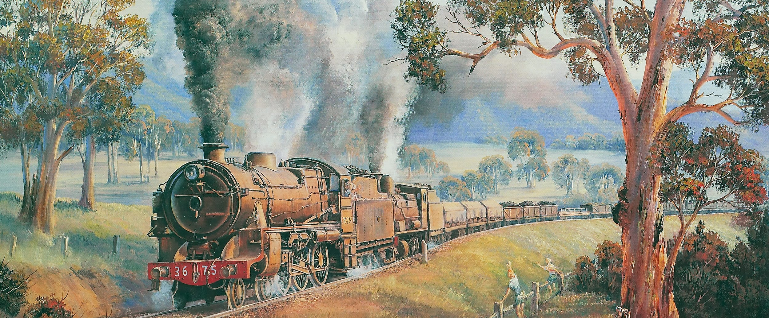 John Bradley Train Oil Painting