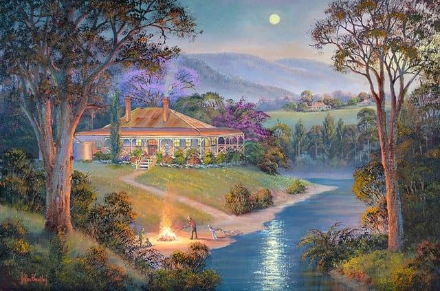Close of Day Farm Scene Painting by John Bradley