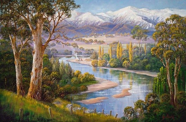 Murray Valley Campers Painting John Bradley