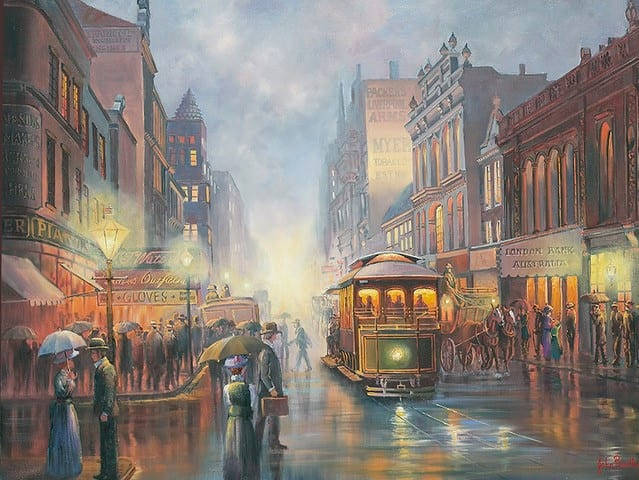 Sydney by gaslight John Bradley canvas