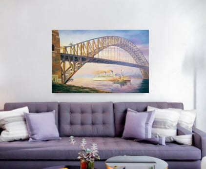 Days of steam SYdney Harbour Bridge Painting John Bradley