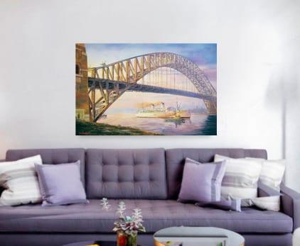 Days of steam SYdney Harbour Bridge Painting John Bradley
