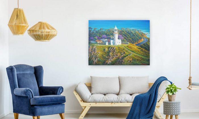 byron bay lighthouse painting by John Bradley
