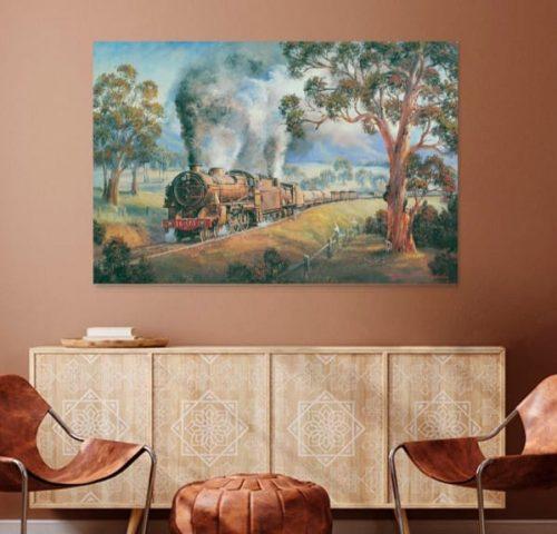 A Friendly Wave Steam Train Painting John Bradley