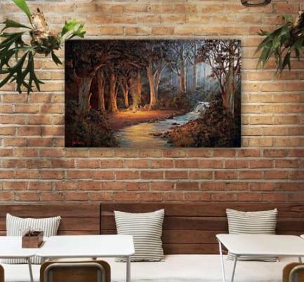 Firelight and Moonrise camping painting John Bradley