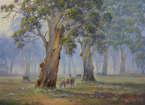How to paint a misty gum scene