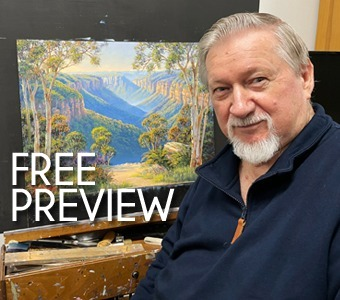 Free preview of painting the blue mountains with John Bradley